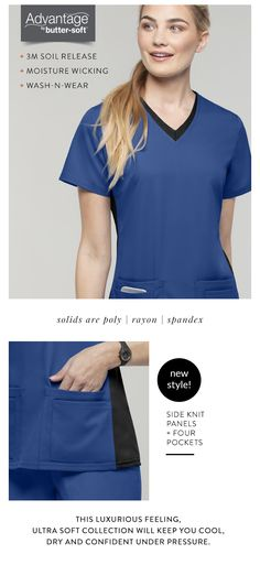 323973445f4 Advantage STRETCH by Butter-Soft™ Knit Panel Scrub Top Keeps you Cool All  Shift Long. Uniform Advantage Scrubs