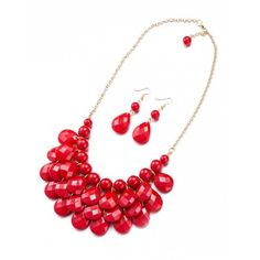 Beads Water Drop Necklace And Earrings Red ($30) ❤ liked on Polyvore featuring jewelry