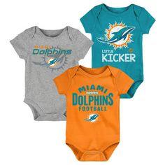 bb2131597 Miami Dolphins Newborn   Infant For the Win Three-Piece Bodysuit Set - Aqua