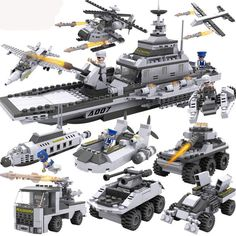 Building Blocks Aircraft airplane ship Bus tank police city Military Carrier 8 in 1 Model Kids Toys Best Kids Xmas Gifts