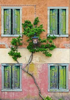 Weathered Shuttered Windows in Torcello, Italy
