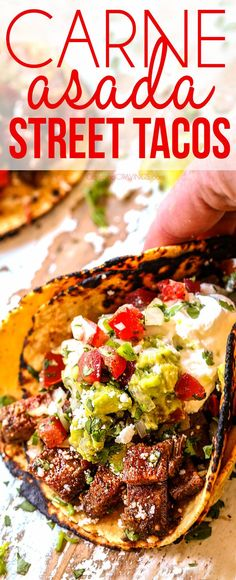 Carne Asada Street Tacos exploding with flavor and your favorite toppings with just minutes of prep! via Carne Asada Street Tacos exploding with flavor and your favorite toppings with just minutes of prep! via Carne Asada Street Ta. Mexican Dishes, Mexican Food Recipes, Beef Recipes, Dinner Recipes, Cooking Recipes, Healthy Recipes, Taco Ideas For Dinner, Latin Food Recipes, Tajin Recipes