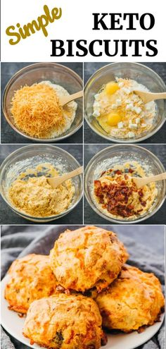 Biscuits Keto, Keto Pancakes, Cheddar Biscuits, Low Carb Biscuit, Comida Keto, Healthy Low Carb Recipes, Low Carb Snack Ideas, Carb Free Meals, Keto Bread