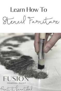 Stencils are so versatile and add an extra something to a piece of furniture - they can be used on fabric or painted furniture! Learn how to stencil furniture with Fusion! #fusionmineralpaint #stencil #furniturepaint #funkyjunk #paintitbeautiful