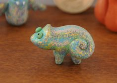 Green Lizard Miniature Animal Totem by WoodlandBeings on Etsy