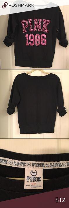 VS PINK Sweatshirt Pink and Black VS PINK pullover. Size small. PINK Victoria's Secret Tops Sweatshirts & Hoodies