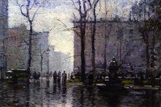 New York City, huile sur panneau de Paul Cornoyer (1884-1923 ...