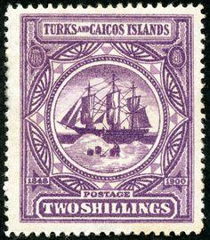 "Turks & Caicos Islands  1900 Scott 8 2/- violet, A7 design ""Dependency's Badge"""