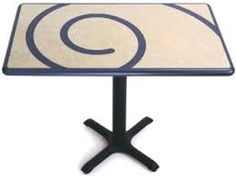 Color drawings and photos of laminated plastic table top inlays. Specify two or more different laminates on the horizontal table top surface for bold color and pattern effects.