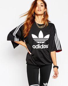 Image 1 - Adidas Originals X Rita Ora - Top manches kimono à 3 bandes et imprimé trèfle