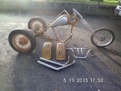 A used 1950 45 side value OEM H/D trike, frame, rear end, spoket wheels. #HarleyDavidson