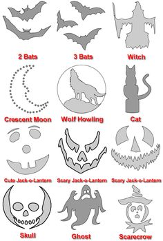 #Halloween #Party Halloween templates.  At link, each template can be downloaded as a PDF file.   http://blog.mrhandyman.com/2011/10/06/pumpkin-carving-6-creative-ideas-power-tools/