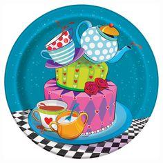 """Mad Hatter Tea Party Round 7"""" Dessert Plates, 8ct"""