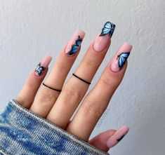 Butterfly Nail Designs, Butterfly Nail Art, Acrylic Nail Designs, Nail Art Designs, Blue Butterfly, Design Art, Disney Acrylic Nails, Blue Acrylic Nails, Pink Nails
