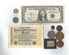 10 Piece collectibles lot silver certificate dollar German banknote Mercury Dime and more