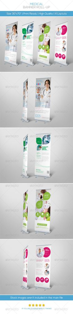 Premium Medical Roll-up Banner #GraphicRiver MEDICAL FLYER SET: Features: • 4 different style