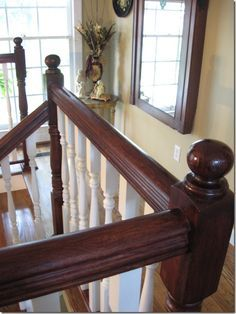 The Best Paint Colours To Go With Oak (or Wood) – Trim, Floor, Cabinets and More… red oak wood kitchen or railings can look great with paint colours like Benjamin Moore Lenox Tan, Stone House and Sherwin Williams Macadamia Oak Banister, Banisters, Stair Railing, Railings, Painted Banister, Best Paint Colors, Paint Colours, Warm Colours, Stain Colors