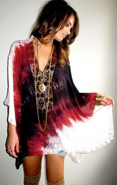 Short, Black and White and Red Tie-Dye Embroidered Tunic Dress, Gold Layered Necklaces... Effortlessly Bohemian