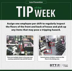 Assign one employee per shift to regularly inspect FOH & BOH floors! #DTTLPTips