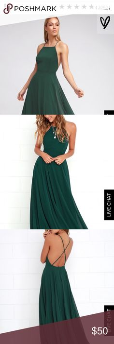 Lulus emerald green maxi dress I loved this material and the length was good! It was my first time ordering from the site and based on their size descriptions I ordered a small but should have gotten a medium. I'm typically a medium so I think this item fits like a normal small size. It's never been worn, only tried on. Lulu's Dresses Maxi