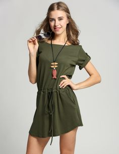 97f0a0ea21 Casual Women O-Neck Short Sleeve Drawstring Waist Pocket Dress