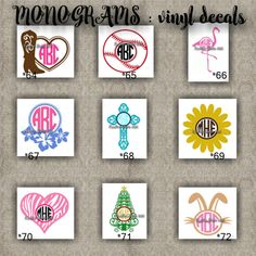MONOGRAM vinyl decals | name | initial | decal | sticker | car decals | car stickers | laptop sticker - 64-72
