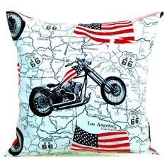 Rockabilly pillow 20x20 pillow cover Motorcycle cushion cover Ivory... (€34) ❤ liked on Polyvore featuring home, home decor, throw pillows, off white throw pillows, cream colored throw pillows, ivory throw pillows, red and black home decor and american flag throw pillow