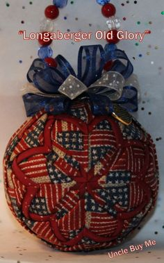 Quilted Ornaments Quilt Ball Ornaments Longaberger by unclebuyme, $18.00 Quilted Christmas Ornaments, Fabric Ornaments, Handmade Ornaments, Ball Ornaments, Christmas Balls, Christmas Crafts, Christmas Decorations, Patriotic Wreath, 4th Of July Wreath