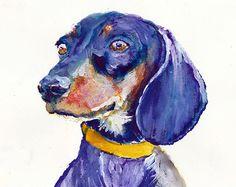 Dachshund Dog Painting PurpleDoxie wall art by OjsDogPaintings Dachshund Dog, Wiener Dogs, Color Pencil Art, Dog Paintings, Colored Pencils, Wall Art, Etsy, Vintage, Diy Dog