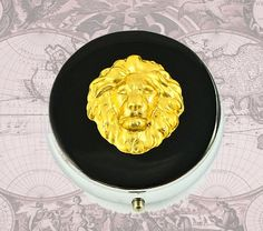 Metal Pill Box Lions Head Safari Neo Victorian Pill Case Leo Zodiac Black Resin Metal Box