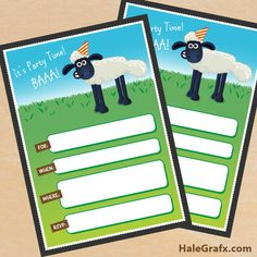 FREE Printable Shaun the Sheep Birthday Invitation