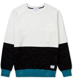 Litful Ivory Colorblock Knit Sweater Shirt, Men Sweater, Mens Sweatshirts, Hoodies, B Fashion, Men Looks, Cool Shirts, Sportswear, Men Casual