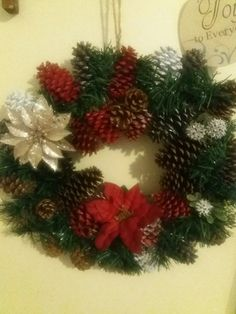 Very first wreath attempt. My oldest daughter owns this one