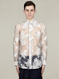 J.W. Anderson Men's Placement Floral Sheer Shirt