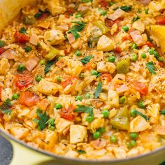 This one pot chicken and rice dinner is the perfect weeknight dinner solution, easily incorporating any leftovers in one healthy and tasty dish.