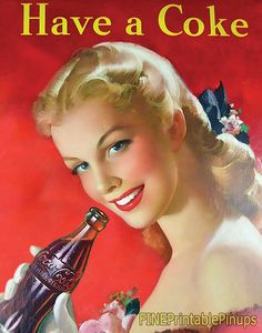 pinup coca cola coke ad advertisement label magazine blonde pinup pin up vintage classic old retro illustration drawing painting girl woman pretty sexy vargas elvgren art artist hair dress 50s 40s 30s 20s 60s 70s 1920 1930 1940 1950 1960 1970 300dpi printable quality