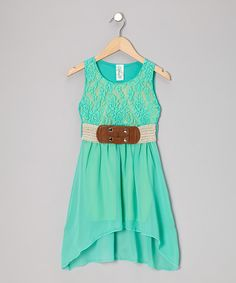 Take a look at this Mint Lace Hi-Low Dress - Girls on zulily today!
