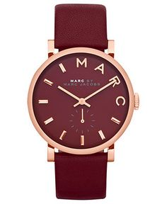 Marc by Marc Jacobs Watch, Women's Baker Deep Maroon Leather Strap 37mm MBM1267 - Watches - Jewelry & Watches - Macy's