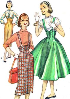 1950s Skirt Pattern Simplicity 1733 High Waist by paneenjerez, $16.00