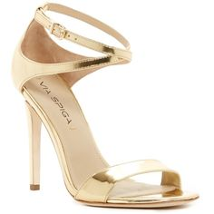 Via Spiga Tiara Metallic Heel Sandal ($130) ❤ liked on Polyvore featuring shoes, sandals, heels, gold, ankle strap heel sandals, high heel shoes, ankle wrap sandals, ankle tie sandals and open toe sandals