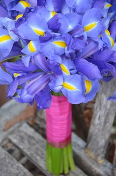 Wedding bouquet- blue Iris bouquet-Bridesmaids bouquet - hand-tied bouquet style