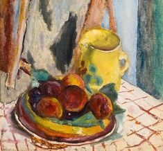 Still Life with Peaches and Yellow Pot Pierre Bonnard - circa 1931 Pierre Bonnard, Beaux Arts Paris, Still Life Artists, Edouard Vuillard, Post Impressionism, Paul Gauguin, Colorful Paintings, Small Paintings, French Artists