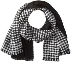 $42, Calvin Klein Reversible Houndstooth Scarf. Sold by Zappos. Click for more info: https://lookastic.com/women/shop_items/382287/redirect