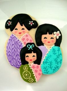 Japanese-inspired Kokeshi doll cookies