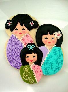 Japanese-inspired Kokeshi doll cookies