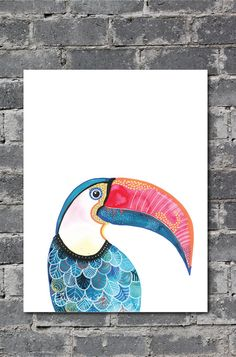 Watercolour print-Toucan A3 size by JAQUELINEB on Etsy