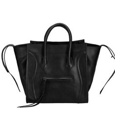 Black Leather Smiling Tote Bag - the closest I ll ever get to a Celine bag! 4e7cac945ace7