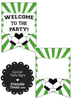 Green Sunburst Soccer Party Signs from PrintableTreats.com