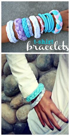 t-shirt bracelets 4 different ways--great kids craft! pinned over 7000 times