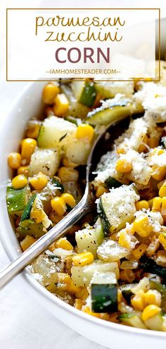 Parmesan Zucchini Corn pairs perfectly with any meal! This healthy summer recipe is full of fresh ingredients and comes together in about 15 minutes. Everyone will enjoy this lovely and tasty side dish for dinner! Add this to your summer menu plan! Dinner Side Dishes, Healthy Side Dishes, Veggie Dishes, Side Dishes Easy, Side Dish Recipes, Veggie Recipes, Food Dishes, Easy Dinner Recipes, Cooking Recipes
